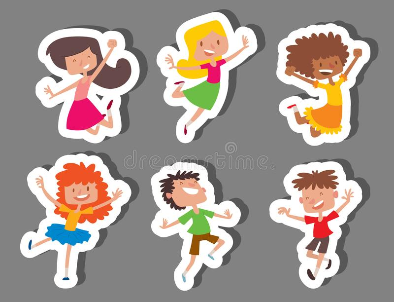 Lyckliga barn i stor vektor för olika positioner som hoppar det gladlynta barnet, grupperar, och den roliga tecknade filmen lurar stock illustrationer