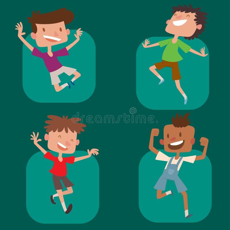 Lyckliga barn i stor vektor för olika positioner som hoppar det gladlynta barnet, grupperar, och den roliga tecknade filmen lurar vektor illustrationer