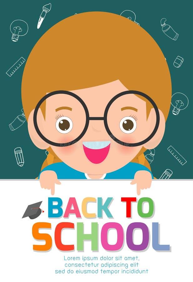 Lyckliga barn med det stora teckenbrädet Dra tillbaka till bakgrund för skolabanret Gulliga skolaungar utbildningsbegrepp, mall f vektor illustrationer