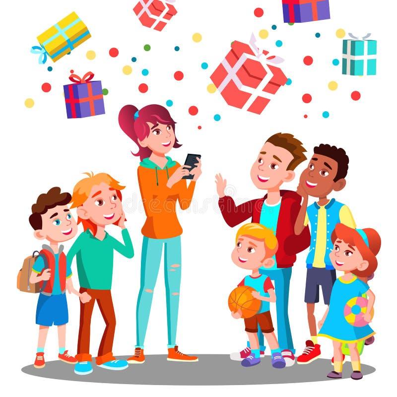 Lyckliga barn och julgåvor som faller med konfettier från himmelvektorn illustration royaltyfri illustrationer