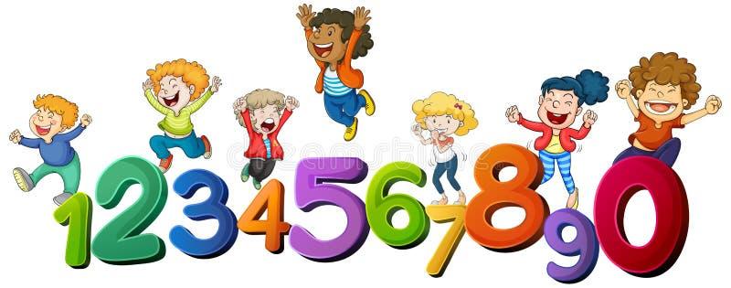 Lyckliga barn och nummer ett till noll royaltyfri illustrationer