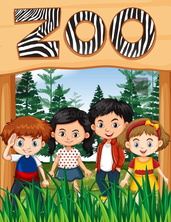 Lyckliga barn på zootecknet stock illustrationer