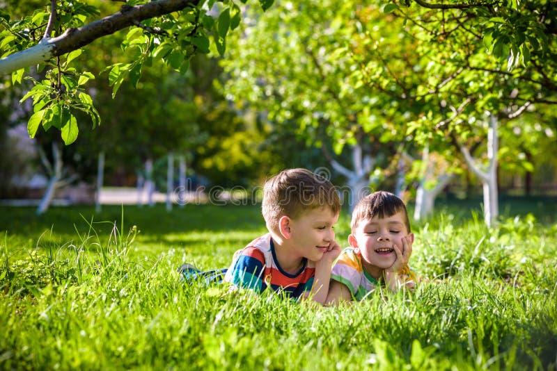 Lyckliga barn som har roligt utomhus Ungar som spelar i sommar, parkerar Pys och hans broder som l?gger p? gr?n ny gr?sferie arkivbilder