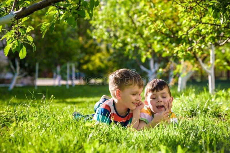 Lyckliga barn som har roligt utomhus Ungar som spelar i sommar, parkerar Pysen och hans broder som lägger på grönt nytt gräs, sem royaltyfri bild