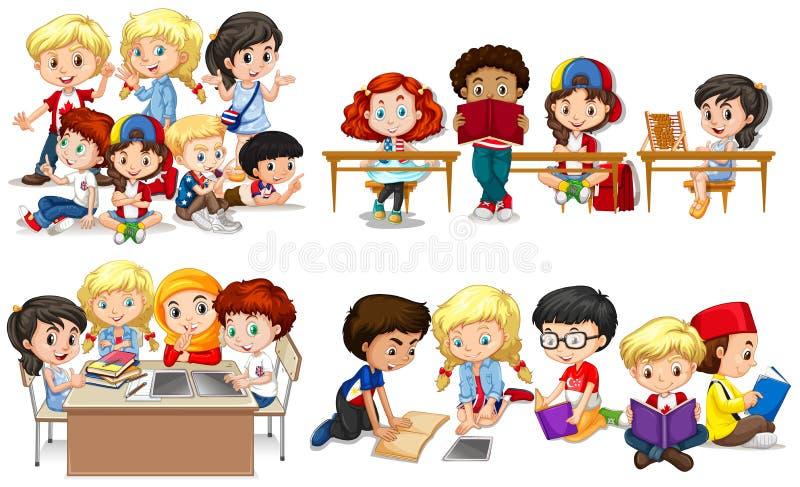 Lyckliga barn som lär i klassrum stock illustrationer