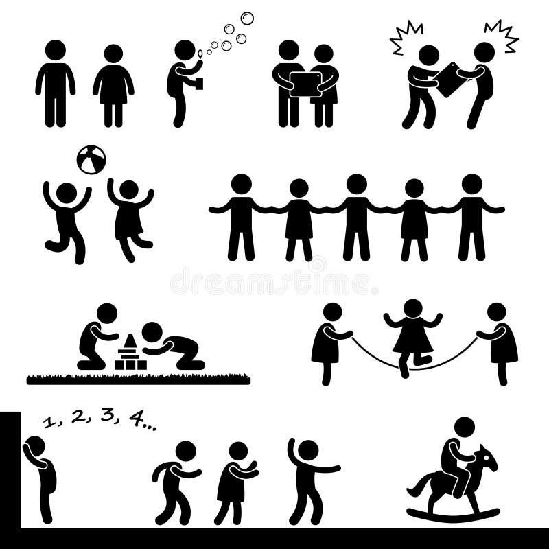 Lyckliga barn som leker pictogramen royaltyfri illustrationer