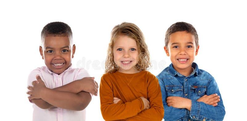 Lyckliga barn som ser kameran fotografering för bildbyråer