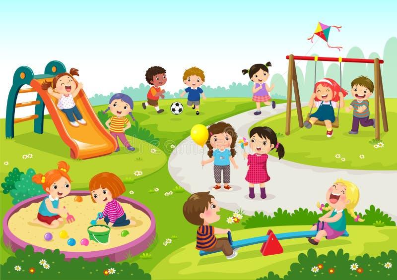 Lyckliga barn som spelar i lekplats vektor illustrationer