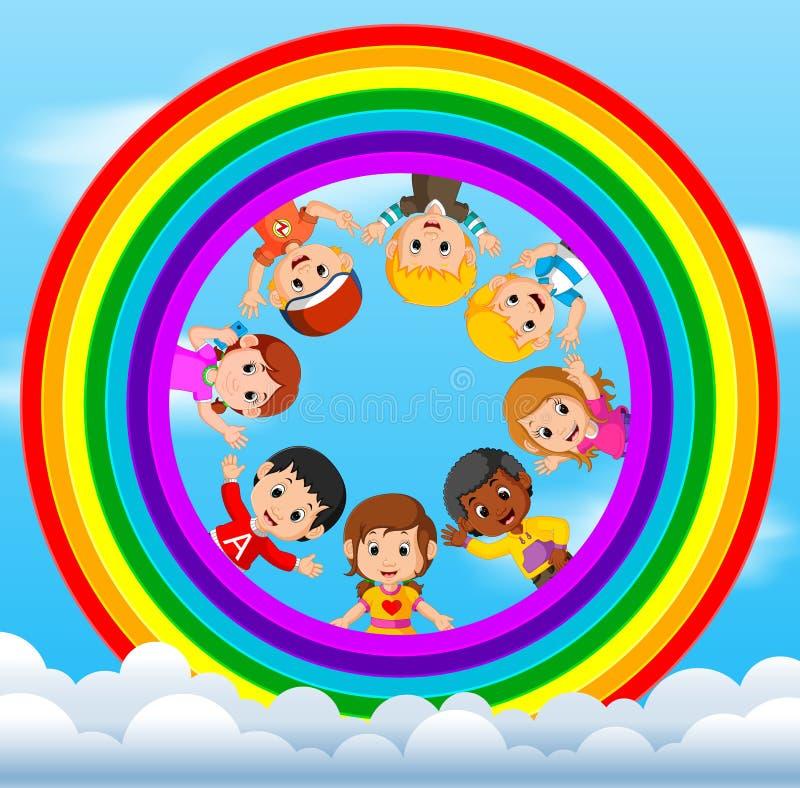 Lyckliga barn som spelar på himlarna stock illustrationer