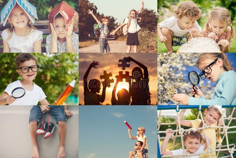 Lyckliga barn som utomhus spelar på dagtiden royaltyfri foto