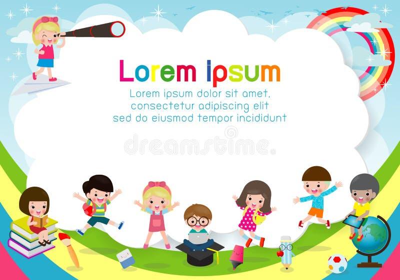 Lyckliga barn, tillbaka till skola, mall för annonsering av broschyren Ordna till för ditt meddelande, roligt tecknad filmungetec royaltyfri illustrationer