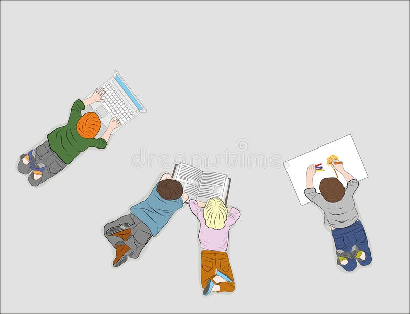 Lyckliga barn Top beskådar Varje barn är upptaget med deras egen affär läsa en bok, teckning som arbetar med en dator Vektor dåli stock illustrationer