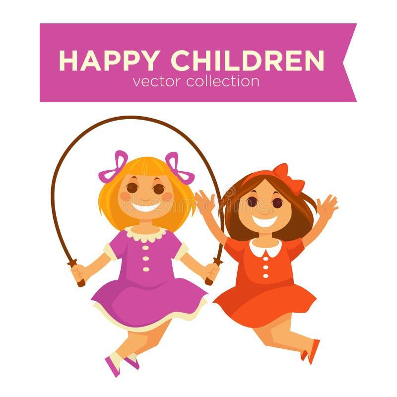 Lyckliga barnflickor som hoppar hopprepet som spelar vektorsymboler för utomhus- lekar stock illustrationer