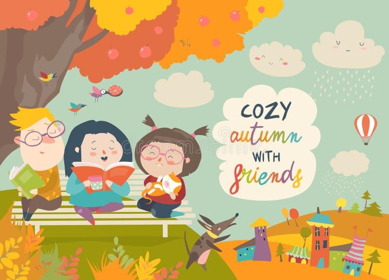 Lyckliga barnläseböcker i höst parkerar royaltyfri illustrationer
