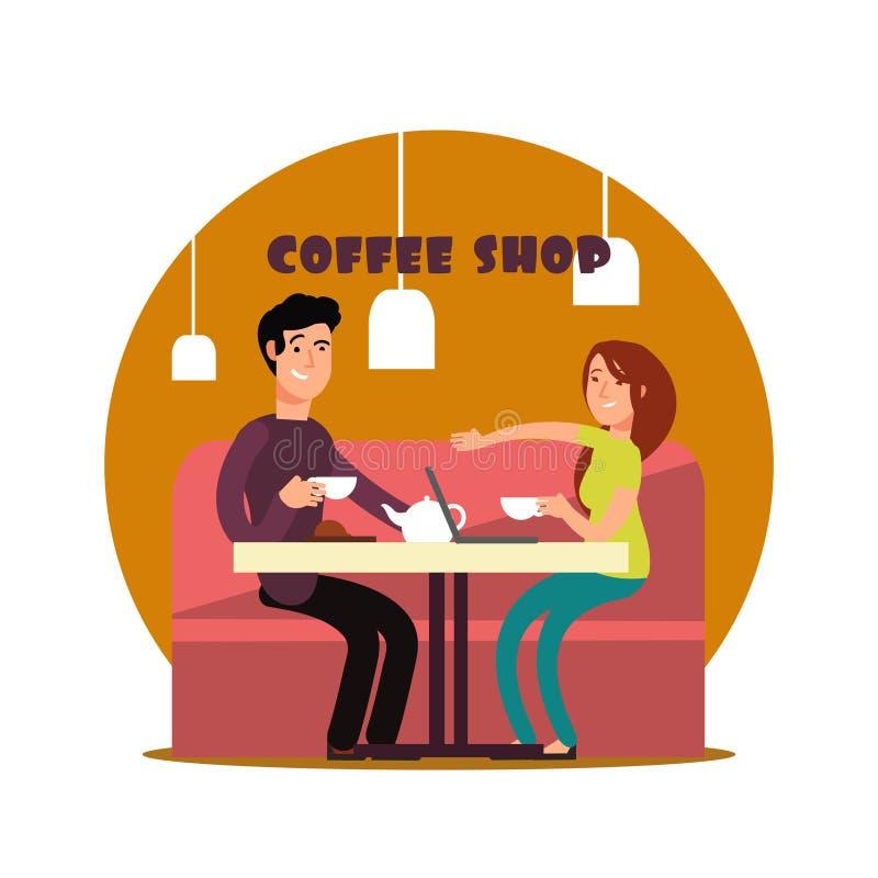 Lyckliga barnpar som arbetar i coffee shop vektor illustrationer