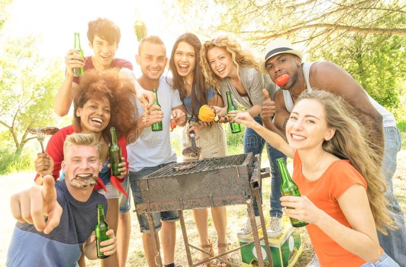 Lyckliga blandras- vänner som har gyckel på det trädgårds- partiet för grillfest arkivfoton