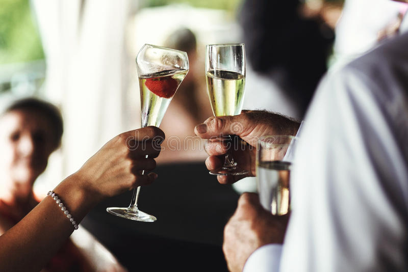 Lyckliga bröllopgäster som dricker champagne arkivfoton