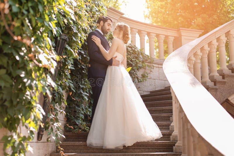 Lyckliga brölloppar på trappa utomhus arkivfoto