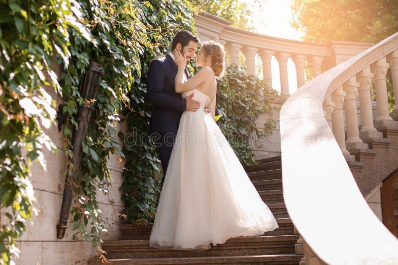 Lyckliga brölloppar på trappa utomhus royaltyfri bild