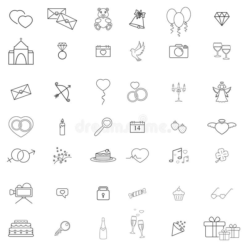Lyckliga dagsymboler ställde in av förälskelsedag royaltyfri illustrationer