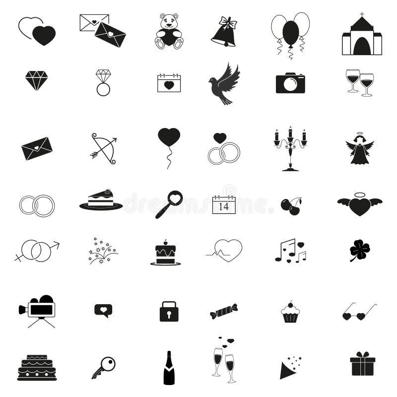 Lyckliga dagsymboler st?llde in av f?r?lskelsedag royaltyfri illustrationer