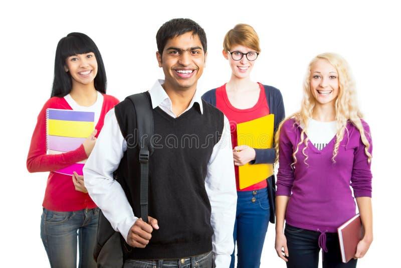 lyckliga deltagare för grupp fotografering för bildbyråer