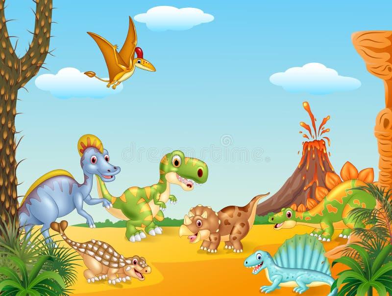 Lyckliga dinosaurier för tecknad film med vulkan royaltyfri illustrationer