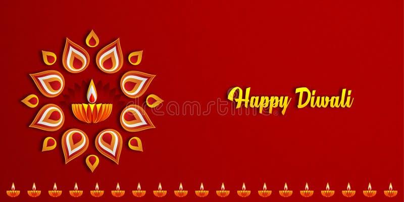 Lyckliga Diwali Diya lampor som tänds under diwaliberöm royaltyfri illustrationer
