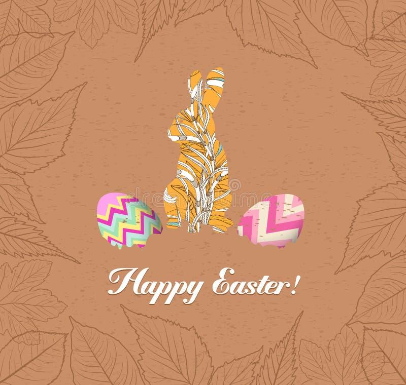 Lyckliga easter ägg och bunnys med sidahälsningkortet vektor illustrationer