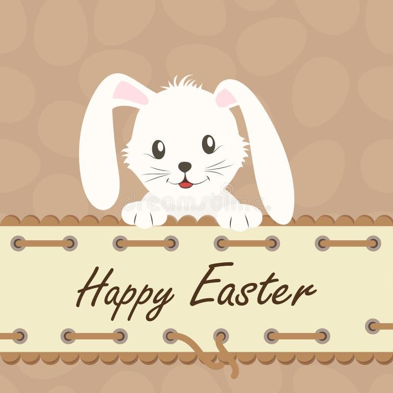 lyckliga easter Bakgrund med den vita easter kaninen vektor illustrationer