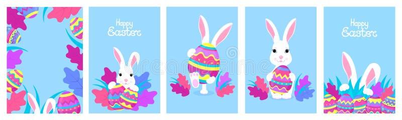 lyckliga easter En uppsättning av att hälsa designer med kaniner och målade ägg Vitt kanintecknad filmtecken royaltyfri illustrationer