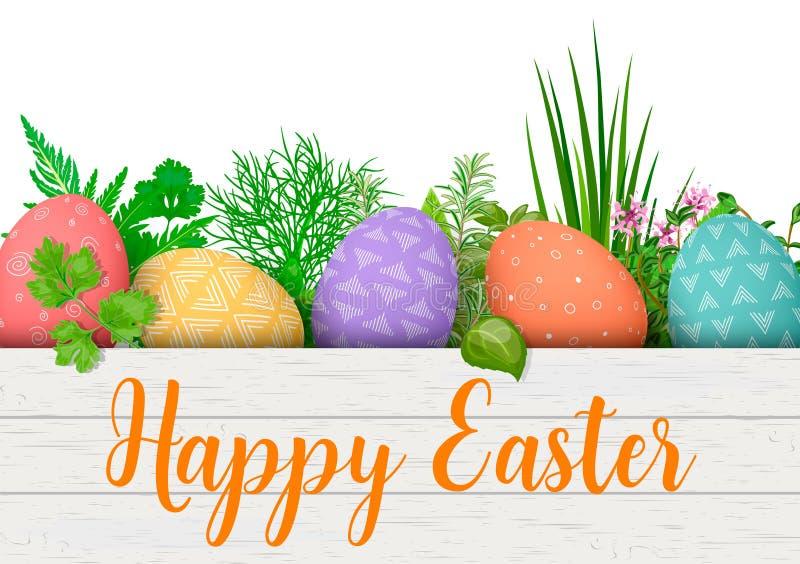 lyckliga easter Färgrika ägg för påsk i rad i den vita träspjällådan med matlagningörter ask med enkla prydnader royaltyfri illustrationer