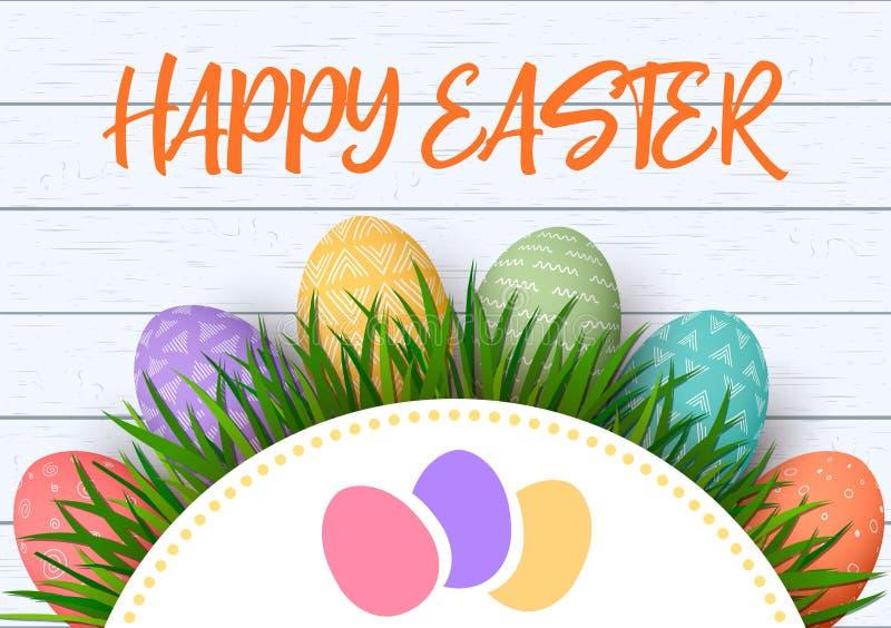 lyckliga easter Färgrika ägg för påsk i rad med abstrakta enkla prydnader vit träbakgrund och blom- ram royaltyfri illustrationer
