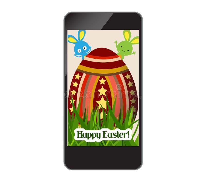 Lyckliga easter med gräs och ägget på smartphonen vektor illustrationer