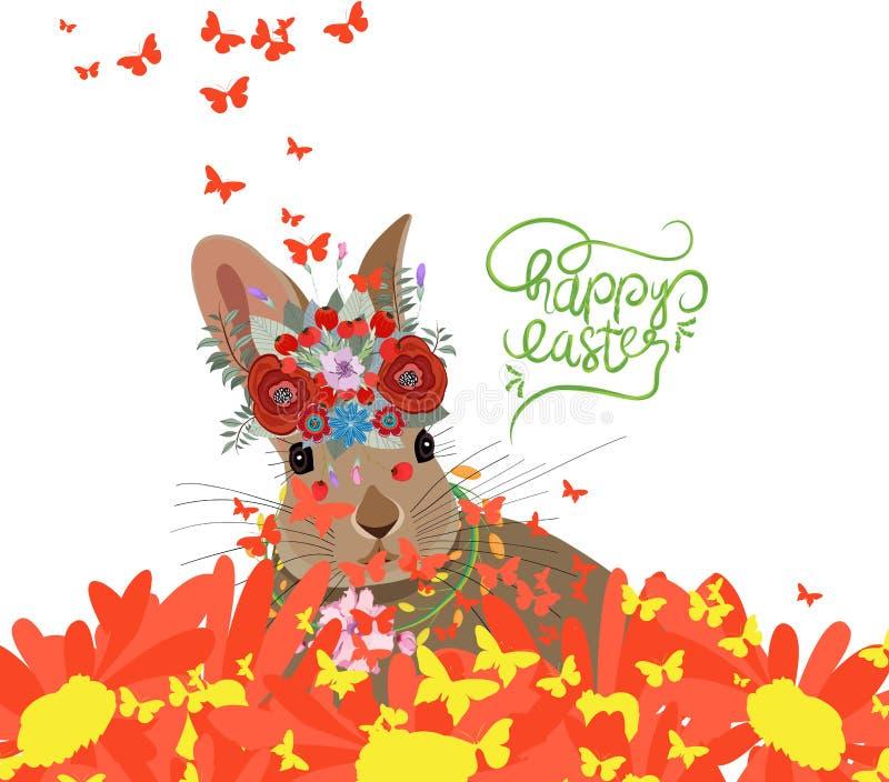 Lyckliga easter med kanin, solrosor och fjärilsbakgrund royaltyfri illustrationer