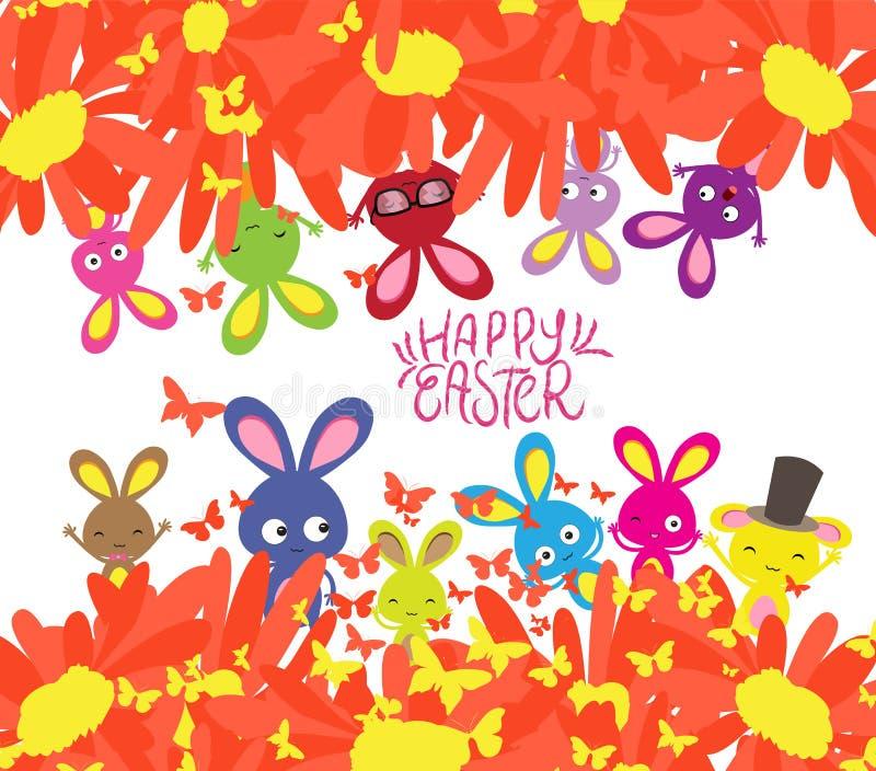 Lyckliga easter med kanin, solrosor och fjärilsbakgrund vektor illustrationer