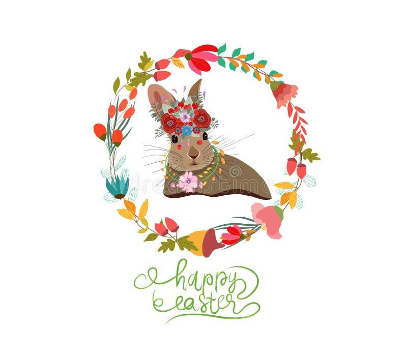 Lyckliga easter med kortet för kaninkranshälsning royaltyfri illustrationer