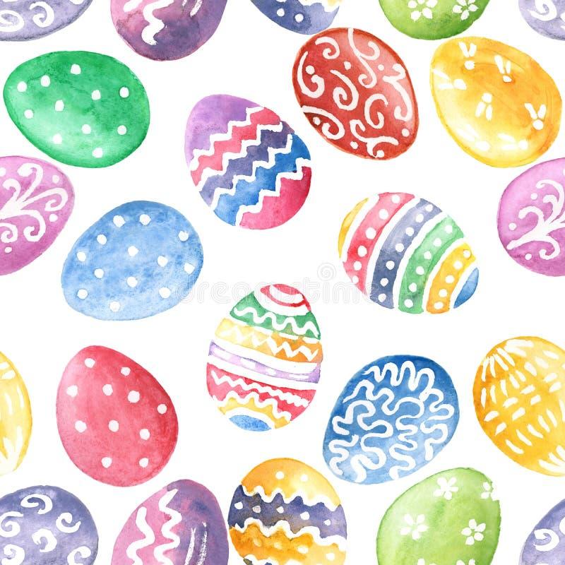 lyckliga easter Sömlös modell för ägg Dragen backg för vattenfärg hand royaltyfri illustrationer