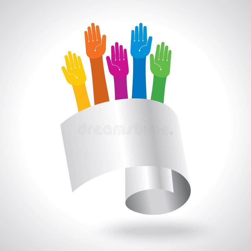 Lyckliga färgrika händer på den vinkade bakgrunden hands mångfärgat stock illustrationer