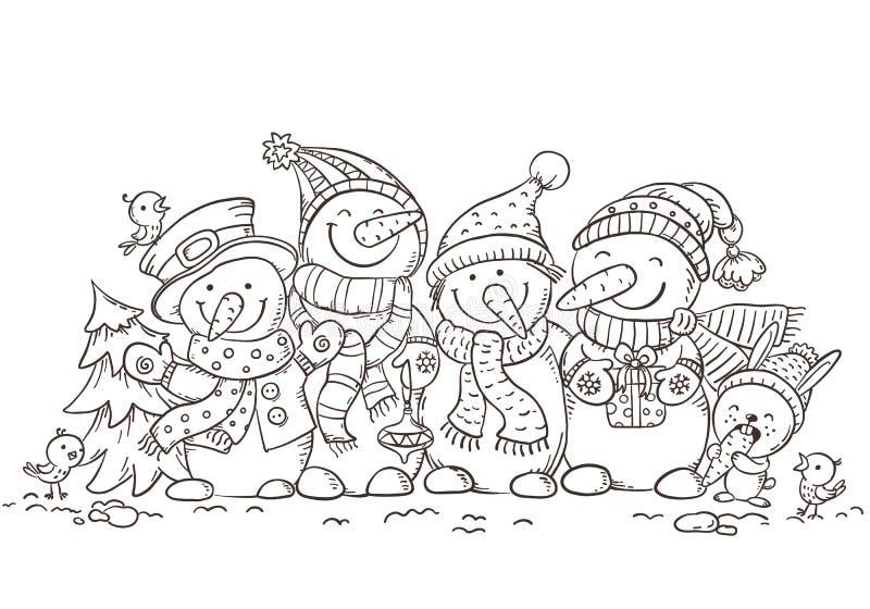 Lyckliga färgrika snögubbear med julprydnader, hälsningkort, vektorillustration, översikt stock illustrationer