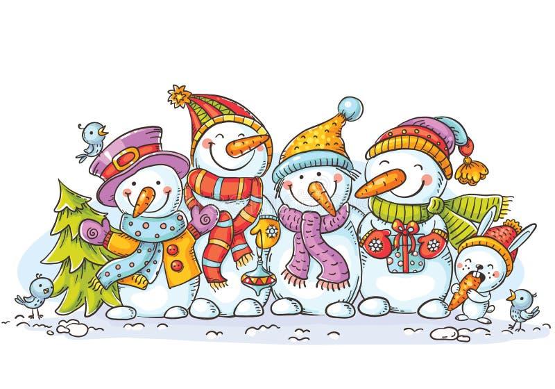 Lyckliga färgrika snögubbear med julprydnader, hälsningkort, vektorillustration royaltyfri illustrationer