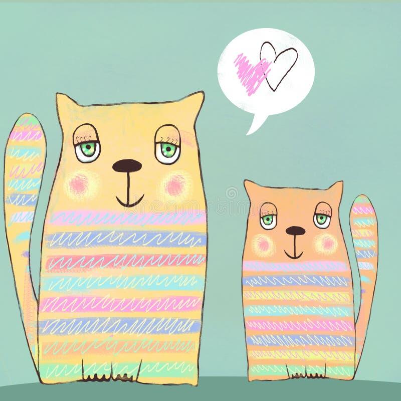Lyckliga färgrika valentinkatter Gulliga par av katter card min portfölj till valentinvälkomnandet En vektorillustration jag älsk royaltyfri illustrationer