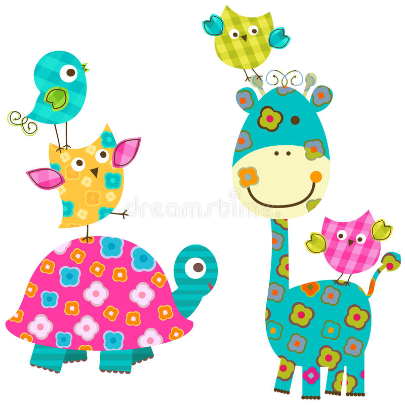 Lyckliga fåglar och giraff stock illustrationer