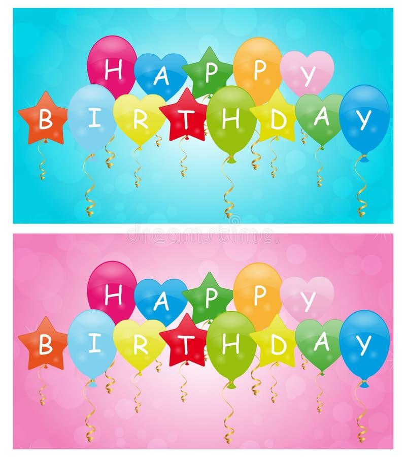 Lyckliga födelsedagballonger stock illustrationer