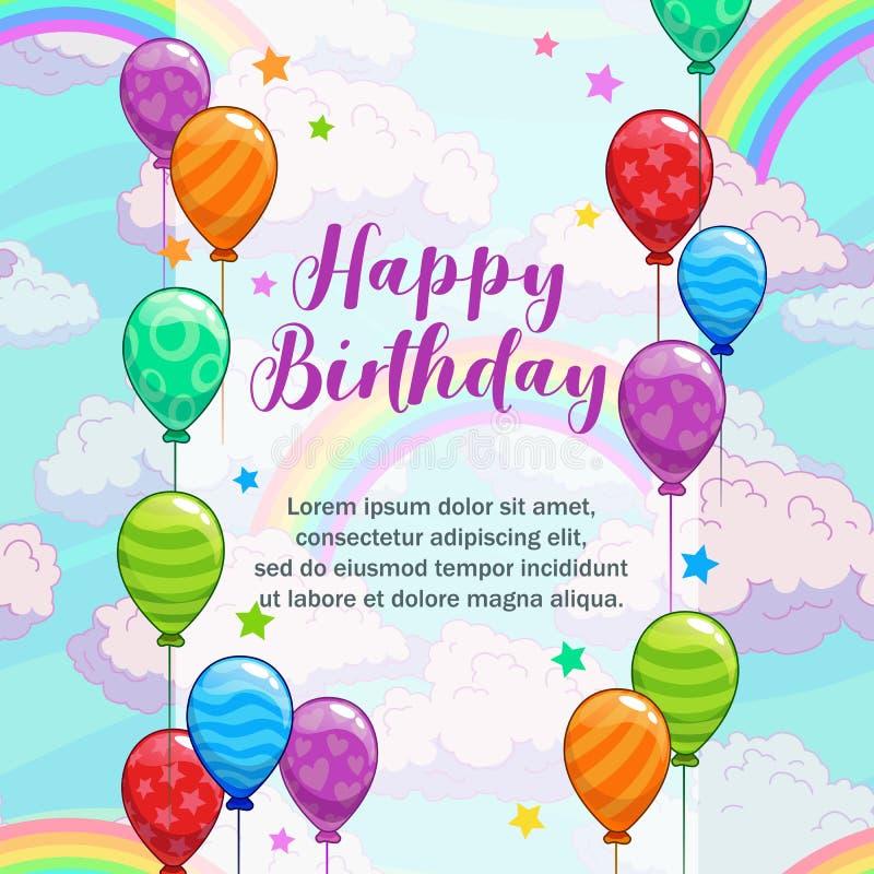 lyckliga födelsedaghälsningar Hälsningkort med färgrika ballonger, moln och regnbågen vektor illustrationer