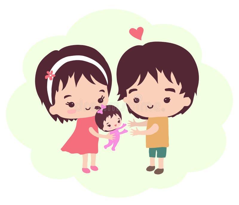 Lyckliga föräldrar och deras dotter vektor illustrationer
