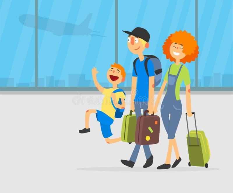 Lyckliga föräldrar och deras sonresande samman med bagage på illustration för flygplatsbakgrundsvektor royaltyfri illustrationer
