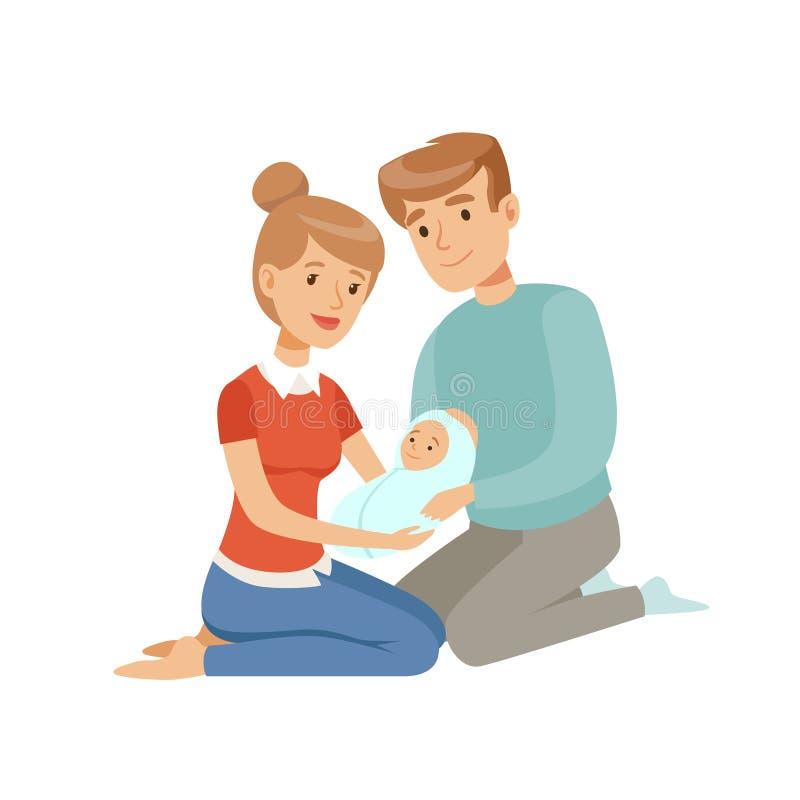 Lyckliga föräldrar som omfamnar deras nyfött, behandla som ett barn, den lyckliga familjen och att uppfostra begreppsvektorillust stock illustrationer