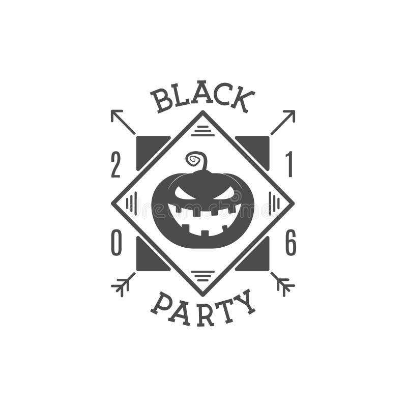 Lyckliga för partiinbjudan för allhelgonaafton 2016 svart etikett Typografigradbeteckning för berömferie Retro emblem, logo royaltyfri fotografi