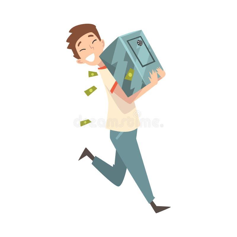 Lyckliga förmögna Guy Carrying Safe Full av pengar, Lucky Successful Rich Person Vector illustration vektor illustrationer